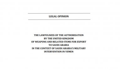 The lawfulness of the authorisation by the United Kingdom of weapons and related items for export to Saudi Arabia in the context of Saudi Arabia's military intervention in Yemen