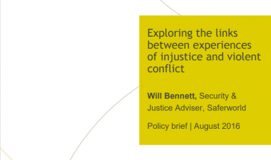 Exploring the links between experiences of injustice and violent conflict