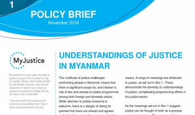 Understandings of justice in Myanmar